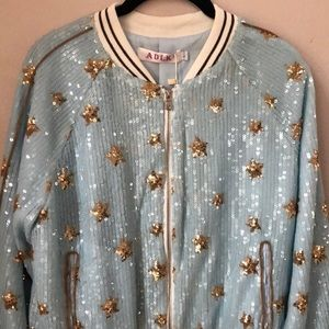 Jackets & Blazers - Inspired sequin bomber jacket  blue with stars L💎